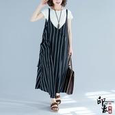 大尺碼女沙灘背帶長裙無袖豎條紋吊帶連身裙洋兩件套 超值價