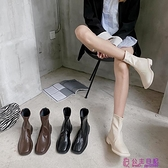 韓版IG方頭復古百搭短靴女春季新款簡約粗跟英倫風瘦瘦靴潮超級品牌【公主日記】