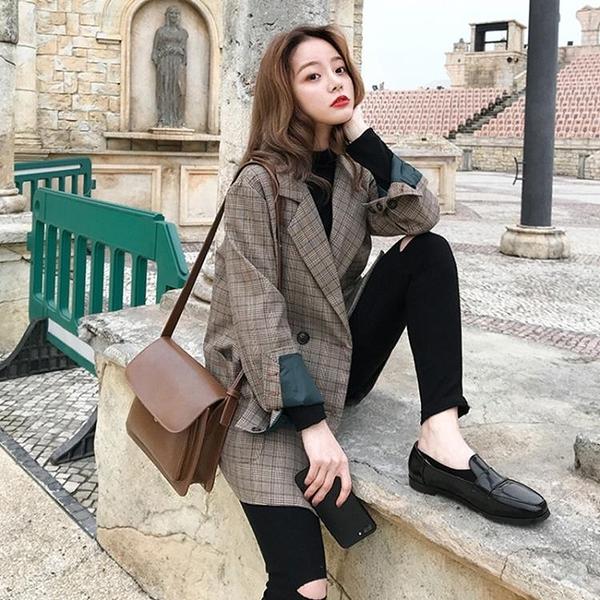 西裝外套 2020春秋新款ins格紋西服韓版學生寬松復古格子chic小西裝外套女