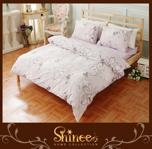 原價3980↘SHINEE 100%純棉《香榭麗人》標準雙人(5X6.2尺)四件式薄被套床包組