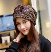 售完即止-時尚蝴蝶結套頭帽子女鏤空蕾絲正韓薄款月子帽花朵頭巾化療帽11-29(庫存清出T)