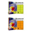 彩之舞 進口3合1彩色標籤(螢光色) 2x4 8格圓角 50張入 / 包 U4269-50L/U4269-50O