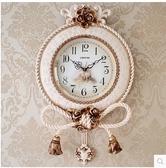 小鄧子鐘錶歐式掛鐘創意客廳靜音美式石英鐘大氣壁鐘時尚個性複古大時鐘(20英寸)