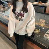 連帽T恤女秋冬韓版寬鬆套頭高領加絨加厚長袖港風chic外套潮
