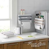 冰箱掛架 日本廚房紙巾架冰箱掛架免打孔保鮮膜錫紙切割器雜物置物架收納架 果果輕時尚NMS