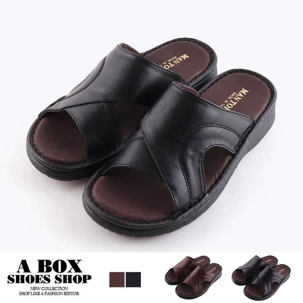 [Here Shoes](男鞋25-29)4CM拖鞋 休閒百搭舒適透氣 真皮氣墊鞋墊圓頭厚底拖鞋 MIT台灣製-KN128