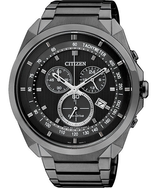 CITIZEN Eco-Drive METAL 專屬型男計時腕錶-IP黑/44mm AT2155-58E