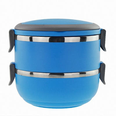 (雙層)不鏽鋼手提塑料保溫餐盒 / 野餐飯盒 便當盒 顏色隨機出貨129元