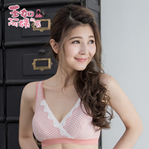 【玉如內衣】蜜糖格紋內衣。B.C.D.E-哺乳-孕媽咪-無鋼圈-舒適-交叉-可愛-台灣製。※0351粉