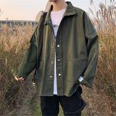 港風bf冬季工裝外套男裝韓版學生牛仔衣潮流寬松ins翻領純色夾克「爆米花」