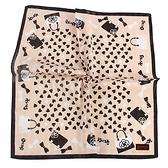 CLATHAS愛心手提包印花純綿帕巾(粉膚色)989265-5