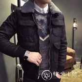 冬季男士棉衣韓版修身棉服麂皮絨夾克羊羔絨冬裝加厚潮流帥氣外套
