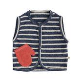 【出清】日本 stample 雙色條紋刷毛背心 (海軍藍)-100%日本製~2016秋冬新品
