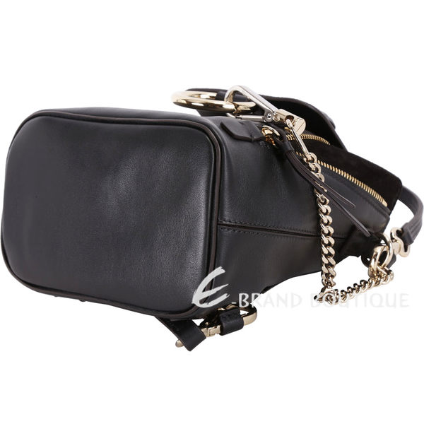 CHLOE Faye 山羊皮拼接兩用後背包(Mini/黑色) 1820192-01