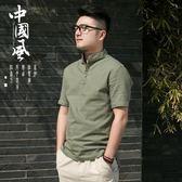 中國風夏季男士亞麻襯衫短袖上衣寬鬆薄款加大碼棉麻布料寸衫