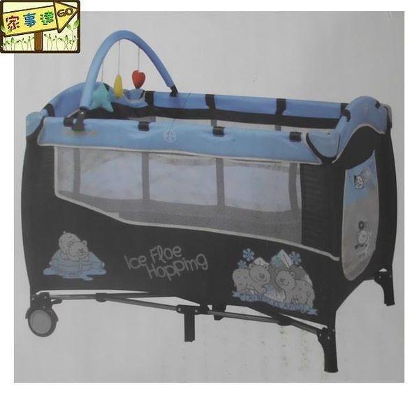 [家事達] Mother's Love-  CL20  雙層遊戲床-藍黑色 內附蚊帳、上層架、玩具架