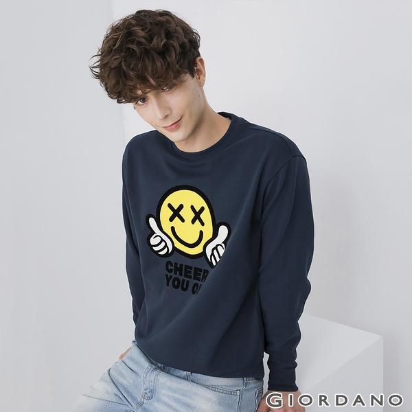 【GIORDANO】 男裝CHEER YOU ON大學T恤 - 04 新海軍藍