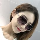 太陽鏡 墨鏡新款無框圓臉太陽鏡女長臉明星款狐貍頭墨鏡女方臉大臉優雅