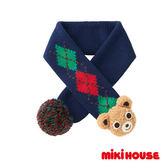 MIKI HOUSE  素色格紋立體普奇熊保暖圍巾(藍)