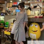 春季2020新款韓版復古百搭顯瘦皺褶中長款短袖連身裙法式裙子女潮  雙12購物節