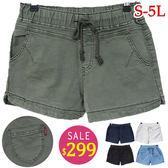 BOBO小中大尺碼【5536-b】中腰鬆緊水洗布料短褲_S-5L-共5色