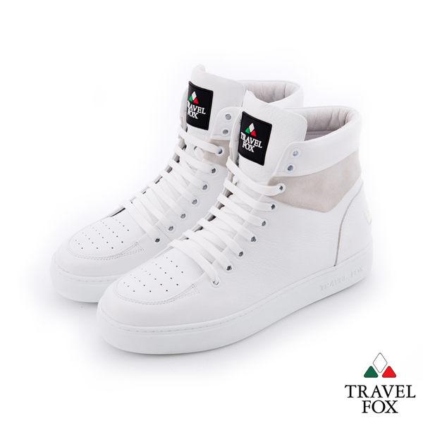 Travel Fox(男)CLASS 900 雙料側環牛皮高筒休閒鞋 - 白