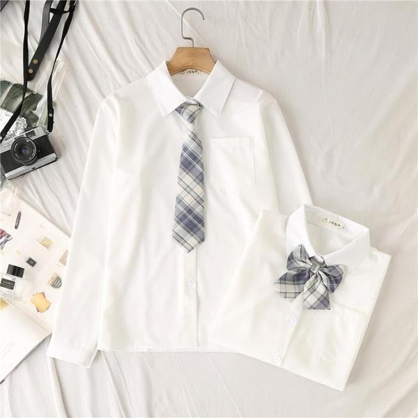 JK制服襯衫女長袖2021年春裝新款寬鬆學生白色襯衣短袖上衣夏季 母親節禮物