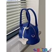 手提包 小眾設計藍色荔枝紋軟糯質感單肩手提小包包春夏韓版百搭斜背包女 寶貝計畫