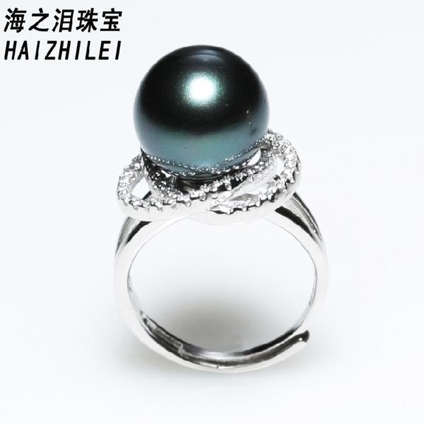 新款天然深海南洋母貝珠珍珠戒指 黑色正圓珍珠指環強光 IV2127【衣好月圓】