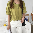 (免運)DE shop - 點點燈籠袖短袖襯衫 - YT-7550