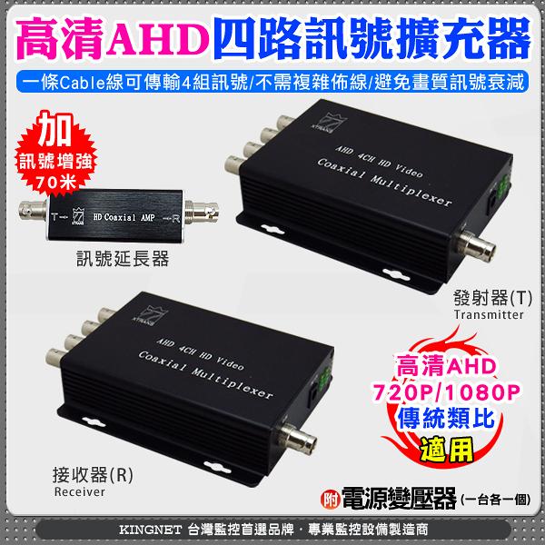 監視器周邊 KINGNET AHD高清4路集中器 影像訊號擴充器 4路訊號集中器 同軸影像傳輸器 支援1080P