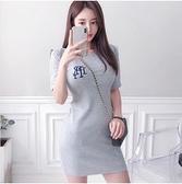 洋裝休閒裙圓領S-XL新款氣質休閒簡約針織T卹修身刺繡包臀連身裙NE49-7902.一號公館