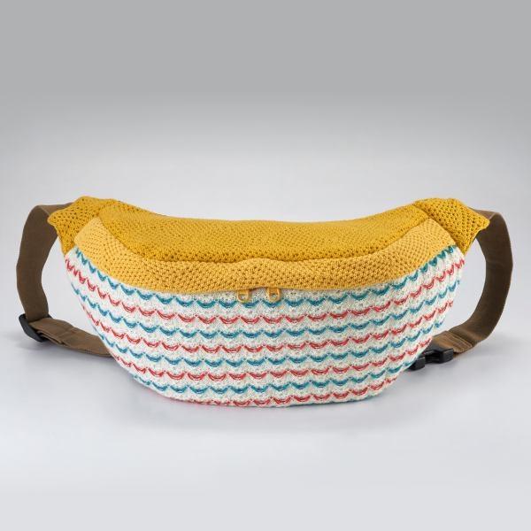 粉光針織腰包/手提包/側背包/拼布包包