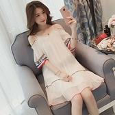 一字领洋装 夏天2020流行新款韓版沙灘一字肩吊帶裙子仙女超仙森系雪紡洋裝