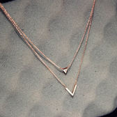 韓版簡約時尚百搭氣質三角形流蘇吊墜鈦鋼玫瑰金鎖骨鍊