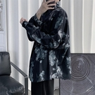 韓版復古國潮印花長袖襯衫寬松潮流痞帥襯衣外套秋季男《朵拉朵》