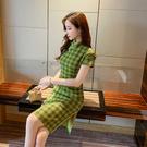 VK精品服飾 韓系復古綠格紋改良旗袍包臀修身短袖洋裝