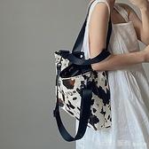 單肩包 奶牛紋大容量手提女包INS大熱單肩斜跨大包托特包 開春特惠