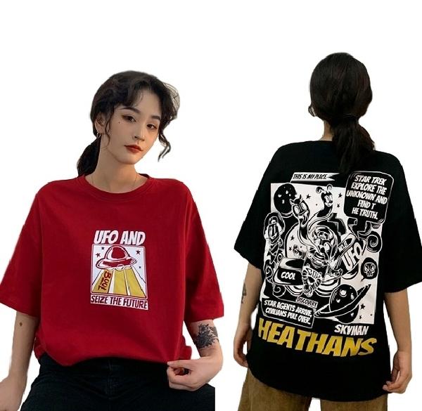 EASON SHOP(GW5215)實拍滿版卡通幽浮飛碟長版短袖T恤落肩OVERSIZE女上衣服內搭衫素色棉T閨蜜裝