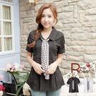 襯衫--時尚感流行胸前壓摺附千鳥格紋絲巾五分袖釦設計襯衫(白.黑M-2L)-H163眼圈熊中大尺碼