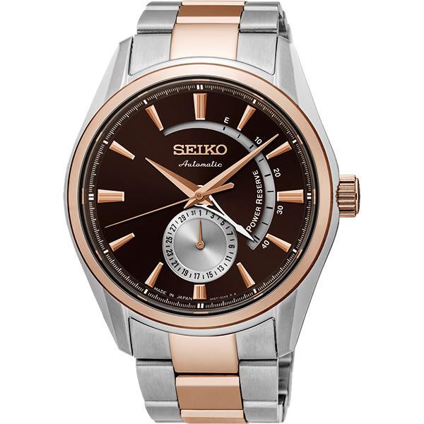 SEIKO 精工 Presage 4R57 動力儲存機械錶-黑x玫瑰金/42mm 4R57-00A0P(SSA308J1)