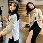 外套 韓系 寬鬆百搭長袖短款夾克外套 花漾小姐【預購】