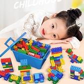 兒童玩具禮物 兒童塑膠積木桌拼圖拼裝拼插玩具益智大顆粒大號寶寶智力開發動腦 阿卡娜