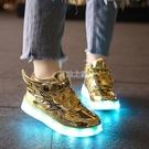 閃光鞋usb充電防水發光童鞋男女亮燈夜光熒光鞋寶寶兒童燈鞋