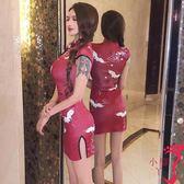 旗袍 性感洋裝女夏主播緊身開叉包臀禮服裙復古印花改良旗袍