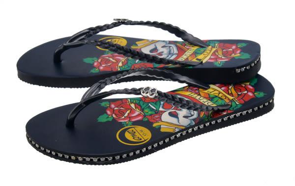 QWQ創意鞋- 雙頭愛 施華洛世奇水鑽夾腳人字拖鞋- 黑 (史帝夫系列 )