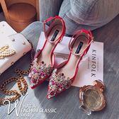 婚鞋女2017新款水鉆細跟鞋水晶鞋秀禾鞋紅色尖頭高跟鞋新娘鞋單鞋-大小姐韓風館