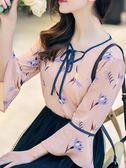 洋氣小衫長袖春秋雪紡襯衫小碎花衫衣女新款長袖春裝女士時尚  enjoy精品