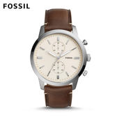 FOSSIL Townsman 城區計時大錶面皮革手錶 男