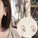 銀針耳環《可改耳夾式》氣質珍珠水鑽圈圈防過敏S925銀針耳針 (SRA0146) AngelNaNa